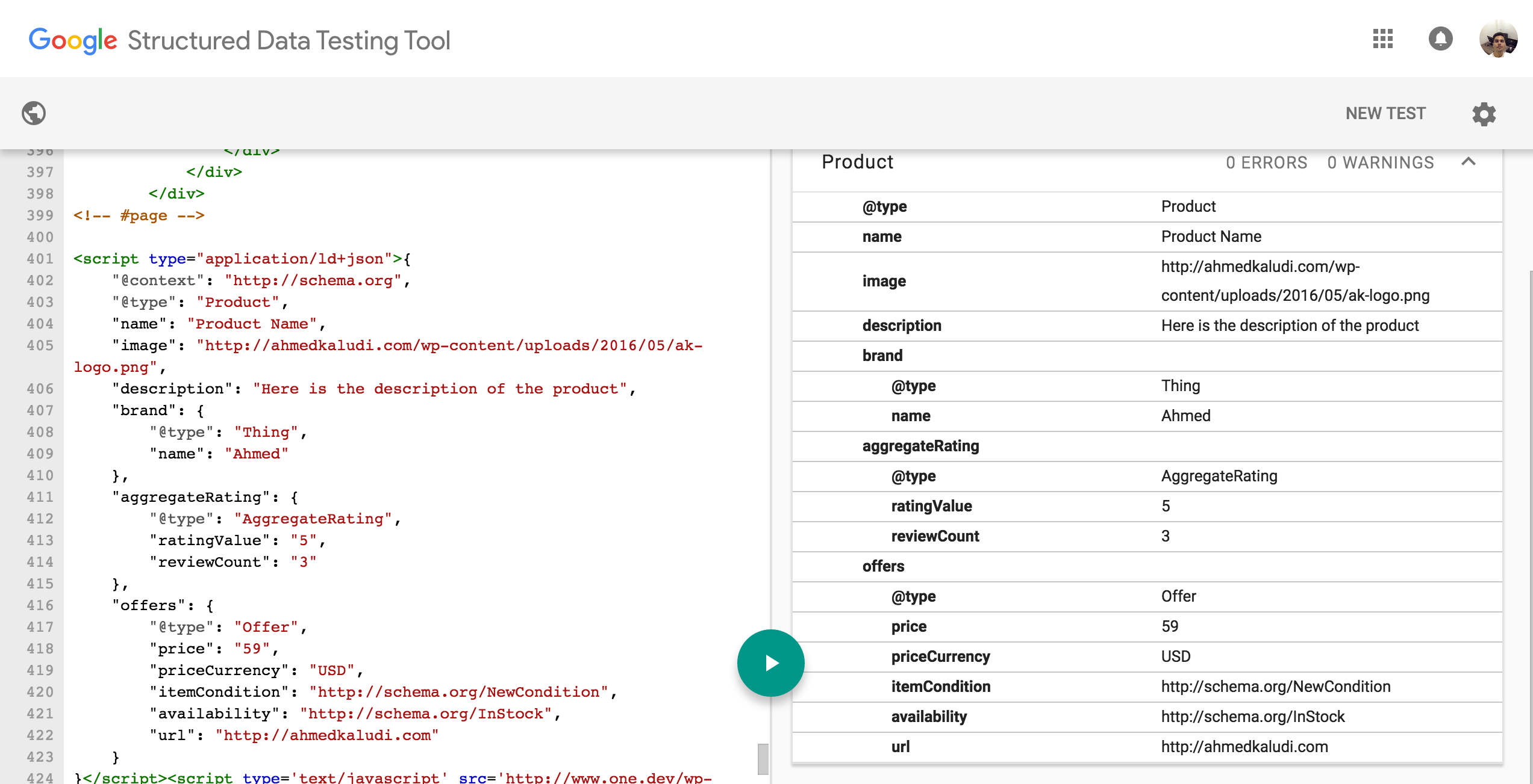 Structured Data Testing Tool Schema