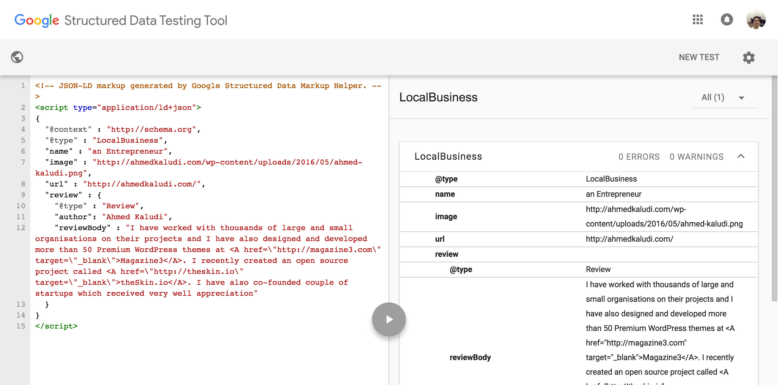 Test-markup-with-Structured-Data-testing-tool
