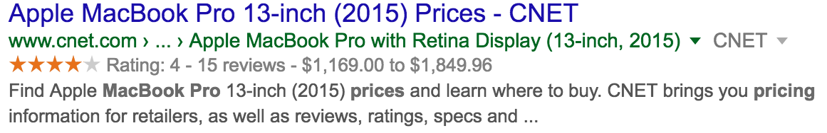 Pricing range in Google structured data