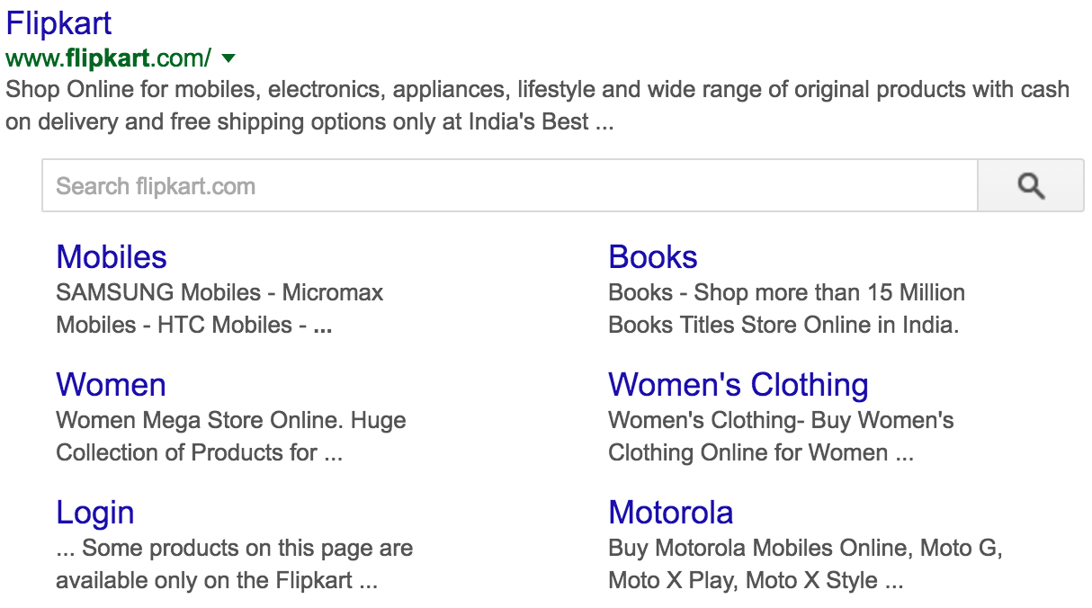 Search bar in Google search results