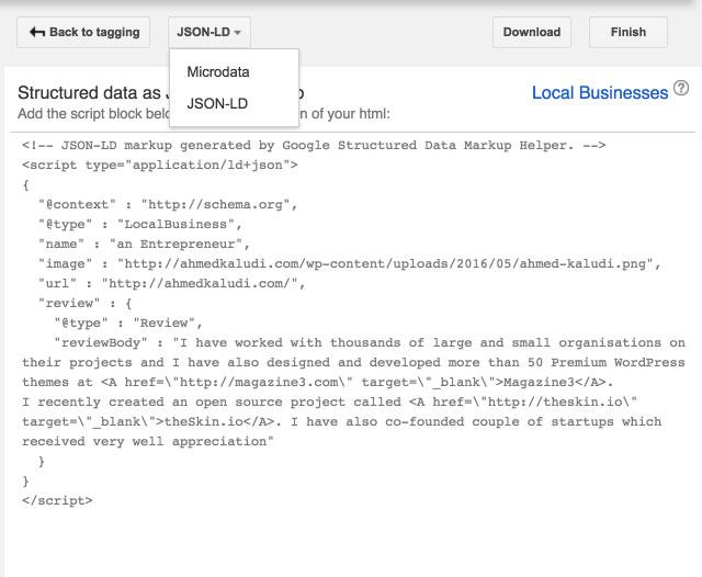 JSON-LD-Structured-Data-Markup-Helper