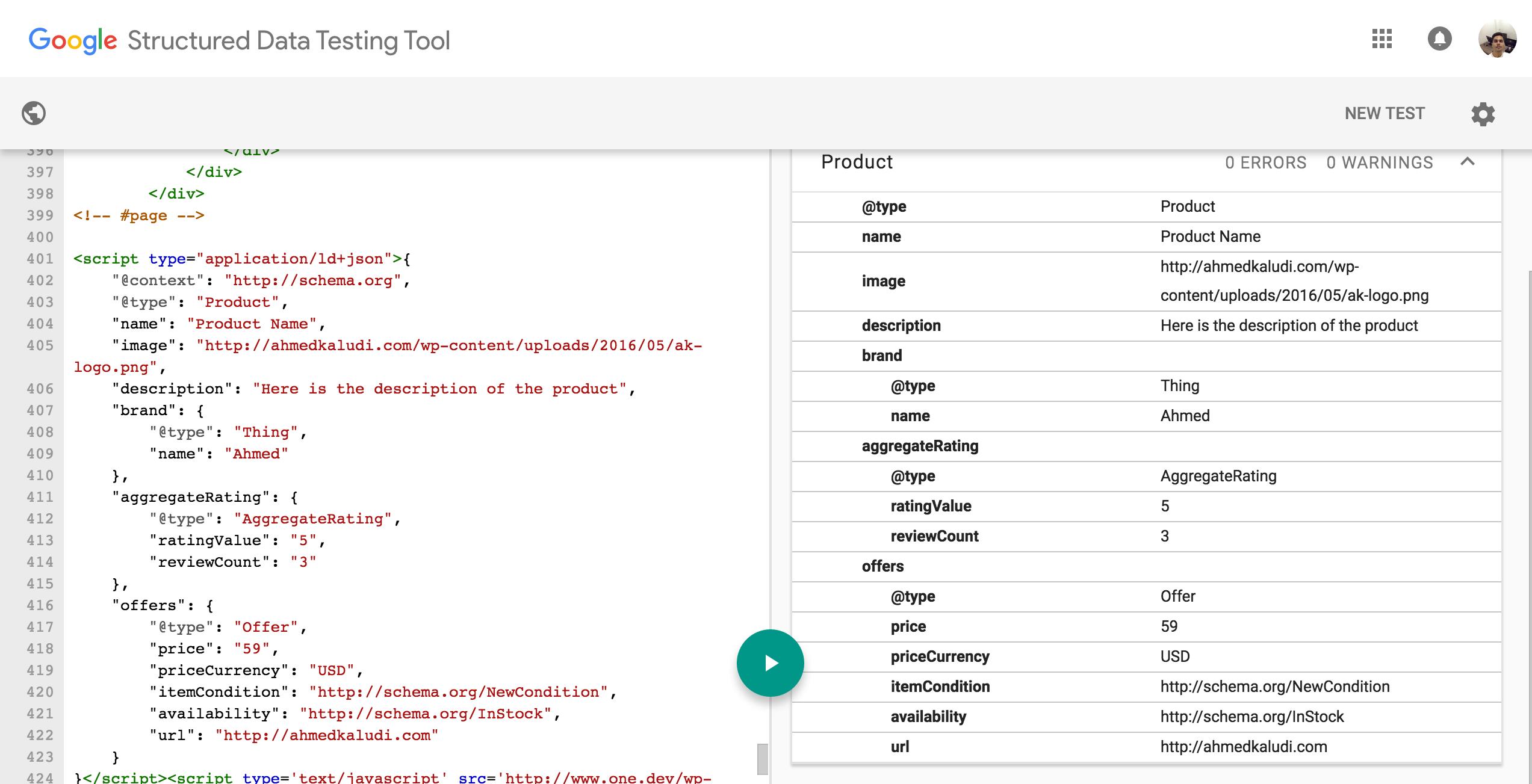 Structured Data Testing Tool Schema