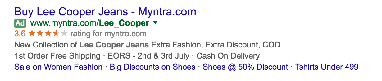 Adwords advertiser structured data in search results